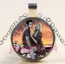 Marilyn Monroe Cabochon Tibetan silver Glass Chain Pendant Necklace #4361