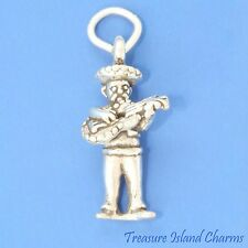 Mexican Mariachi Musician With Guitar 3D .925 Solid Sterling Silver Charm Mexico