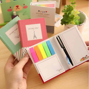 1pc Cute Colorful Notebook with Pen Memo Pad Bookmark Paper Sticker Notepad T&qi