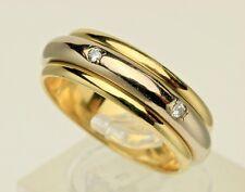 MC. PARIS 18K White Yellow Gold Diamond Spinning Eternity Ring Band Sz.6.5