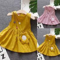 Infant Baby Kids Girls Sleeveless Casual Flower Princess Dress Sundress Clothes
