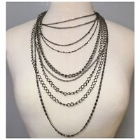 "Vintage Women's 9 Strands Necklace Silver Tone Metal Long 18"" Chains"