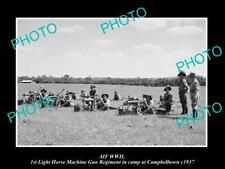 POSTCARD SIZE PHOTO OF AIF WWII THE 1st LIGHT HORSE MACHINE GUN REGIMENT c1937