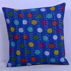 "16"" ETHNIC VINTAGE BLUE POLKA DOT INDIAN KANTHA CUSHION PILLOW COVER DECOR ART"
