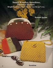 Small Wonder, Sunshine & Summer Sunset Patterns - Purses 'a la Macrame Book