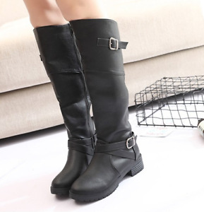 Retro Womens Low Heel Knee High Boots Round Toe Buckle Outwear Knight Boots Shoe