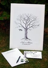 Large Wedding Fingerprint Tree- Unusual Gift (love bird) alternative guest book