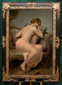"""Old Master-Art Antique Oil Painting art Noblewoman nude girl on canvas 24""""X36"""""""