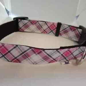 Pink white and black check pattern adjustable dog collar medium size