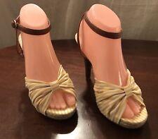 "MADDEN GIRL, FRITZZ, Women's Size 7.5, Yellow/White Striped Sandal w/4.5"" Heel"
