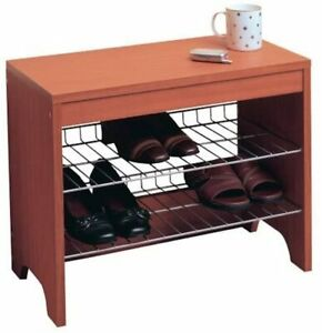 Rubbermaid 9-Pair Wood-Finish Shoe Bench 2 Steel Racks DISCONTINUED