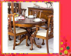 Solid Mahogany French Furniture Chandler Stuart Chippendale Extending Dining Set