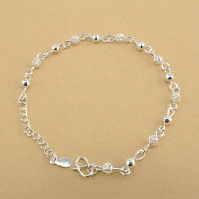 Womens Delicate Bead Hollow Bracelet Stretch Adjustable Chain Silver Filled Link