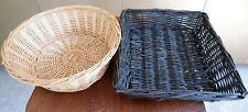 Pair of Vintage Storage Baskets - one round & one rectangular