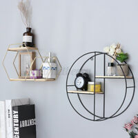 Iron Metal Wall Shelf Rack Hanging Storage Craft Round Industrial Style For Home