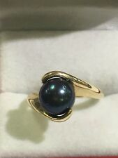 14k Yellow Gold Ring With 8.8mm Black Pearl