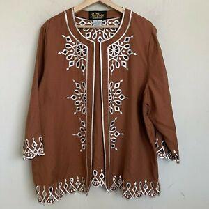 Bob Mackie Wearable Art Jacket Brown Linen Beige Embroidered 3/4 Sleeve Size XL