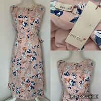PER UNA Marks and Spencer Blue Pink Floral Fit and Flare Midi Dress NEW Size 14