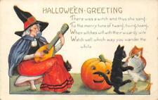 HALLOWEEN GREETINGS Witch w/ Mandolin & Jack-O-Lantern ca 1910s Vintage Postcard