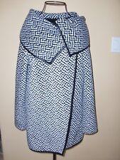 Women's~ELLEN REYES~Fleece Waterfall Colar Black/Ivory Wrap Jacket size M.CUTE!