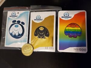 Abominable Toys Exclusive Gold Slate Chomp Pin Bundle +Coin Limited Edition 125