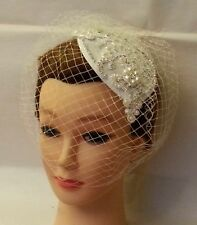 Birdcage Veil White,Ivory Vintage Tear drop Hat. 40s 50s Fascinator & Veil 2Pc
