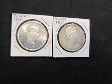 Lot of 2 Canada Silver Dollars - 1964 & 1965