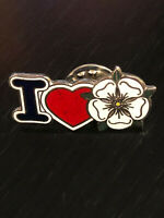 Vintage Collectible I Love Flowers Colorful Metal Pinback Lapel Pin Hat Pin