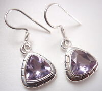 Faceted Amethyst Triangles w/ Groove Accents 925 Sterling Silver Dangle Earrings