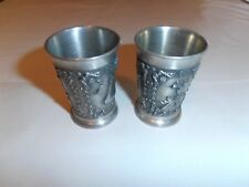 Pewter Cordials - lot of 2 - 95% ZINN With Raised Fruit & Flower Scenes