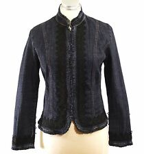 Simon Chang Denim Wear Denim Jean Jacket Coat Detailed Black Lace Trim