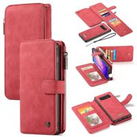 CASEME Detachable 2-in-1 Split Leather Wallet Case Cover for Samsung Galaxy S10