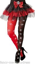 Ladies Black Red Pirate Skull & Crossbones Fancy Dress Halloween Costume Tights