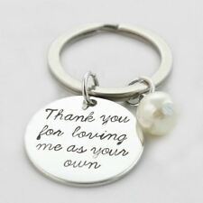 *UK* 925 SILVER PLT 'THANK YOU FOR LOVING ME AS YOUR OWN' ENGRAVED KEYRING ADOPT