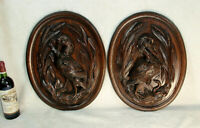 PAIR antique black forest Wood carved bird snake Wall plaque panels German 1900s
