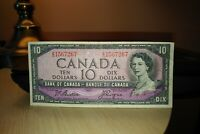 1954 $10 Dollar Bank of Canada Banknote ZD1567267 F-VF