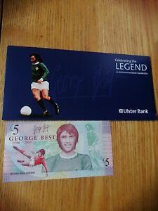George Best commemorative Ulster Bank £5 note in original wallet
