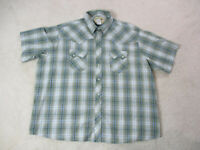 Wrangler Pearl Snap Shirt Adult 3XL XXXL Green Blue Western Rodeo Cowboy Mens