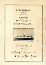 1932 USS Chester Flagship Radio Personnel Christmas Card, Lts. Wilson, Myers USN