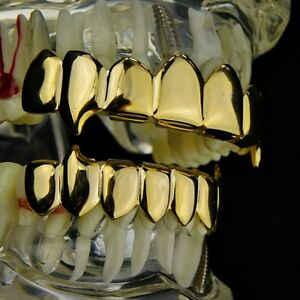 14k Gold Plated Fang Grillz Set Eight Top 8 Bottom 16 PC Teeth Vampire Grills