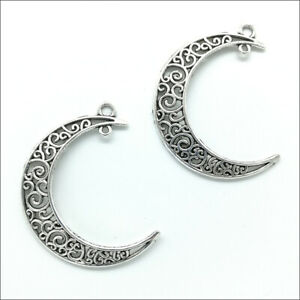 Lot 40pcs Moon Antique Silver Charms Pendants for Jewelry Making DIY 40*35mm