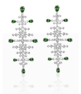 Swarovski perfection chandelier pierced earrings green rhodium plated 5496837