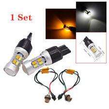 2Pcs 7443 20 SMD LED White/Amber Turn Brake Signal Side Marker Light Universal