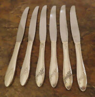 Oneida Queen Bess 6 Dinner Knives Community Tudor Vintage Silverplate Flatware P