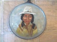 VINTAGE CAST TORTLIA PAN WITH BEAUTIFUL HAND PAINTED NATIVE AMERICAN INDIAN