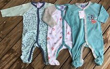BNWT - BABY SIZE 000 0-3months FOX PRINT 3 PACK COVERALL SLEEPSUIT - NEW