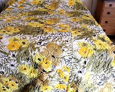 VTG Vera Comforter Bedspread Yellows Golds Floral Full Double Quilted 100 x 112""