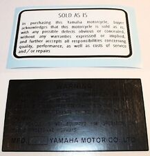 Vintage Yamaha 1979 YZ Warning decal stickers 125 250 400 Vintage Motocross