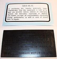 Yamaha 1979 YZ Warning decal stickers 125 250 400 Vintage Motocross AHRMA VMX
