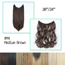 Secret wire in hair extension no clip straight curly natural thick 3/4 full head